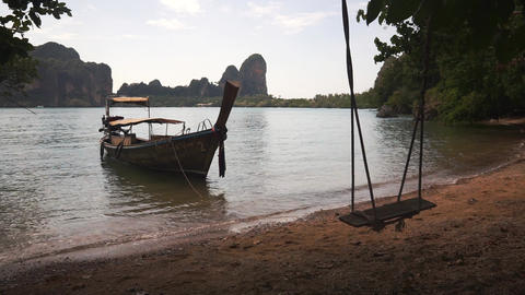 Long tail boat near sandy beach with swing Footage