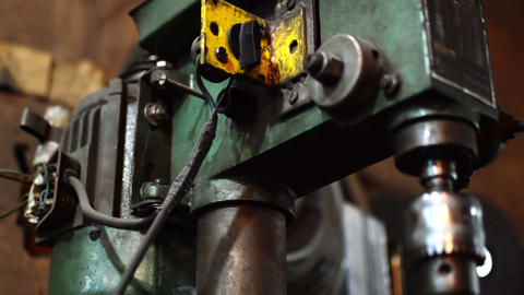 Close up shot of Industrial Drill Machine Live Action