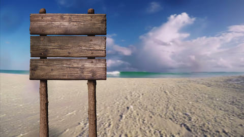 Summer Wooden Blank Board Sign with Copy Space for Text, At Beautiful Sandy Beach Tropical Island Footage