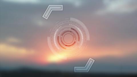 Bright technology HUD design on sunset background video animation Animation