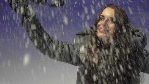 Winter Holidays. Beauty Joyful Model Girl Having Fun In Winter Park Live Action