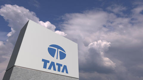 TATA logo against sky background, editorial animation Live Action