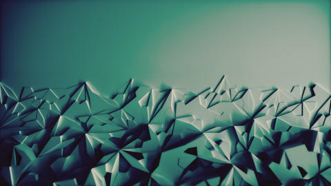 Low poly Blue Ice Block 3d Background with blank Space - Horizontal Animation