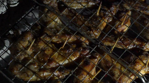 Meat Grilled On Charcoal, Barbecue Footage