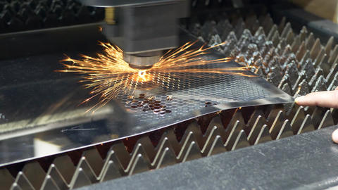 Process of Industrial Laser Cutting of Sheet Metal Footage