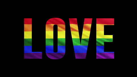 """Rainbow LGBT cloth and text of """"LOVE"""" Colorful symbol of LGBTQ is waving behind text Animation"""