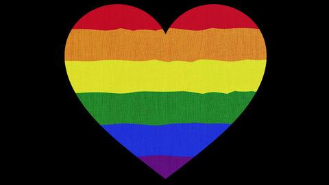 Shape of rainbow heart, symbol of LGBT love and gender symbols. Pride background 3d illustration, Animation