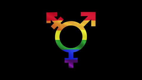 Gender Symbols are rainbow colored. LGBT sign is waving Animation