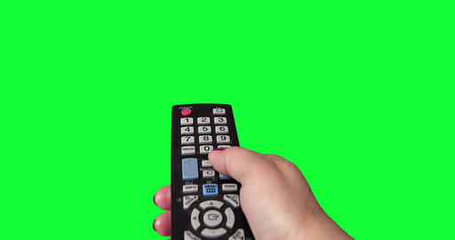 Woman's Hand With a TV Remote on green Screen Footage