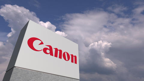 CANON logo against sky background, editorial animation Live Action