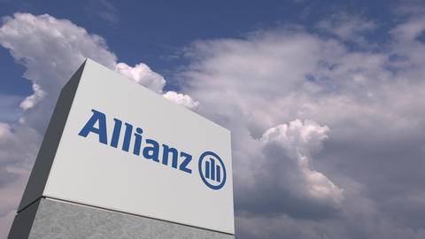 Logo of ALLIANZ on a stand against cloudy sky, editorial animation Live Action