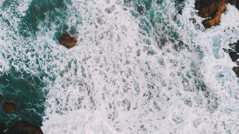 Top view of the rocks in the water, giant waves hit the coast. Benijo Beach Footage
