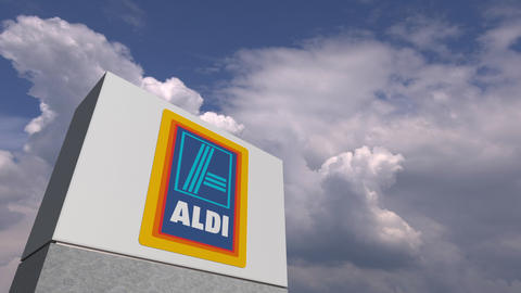 ALDI logo on sky background, editorial animation Live Action