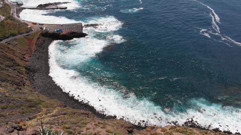 Beautiful beach aerial - ocean waves on the beautiful beach, a bird's eye view Footage