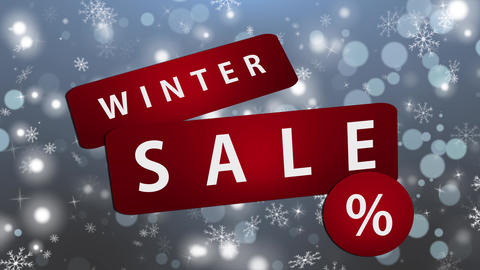 Winter Sale Red Tags on Blue Background Animation