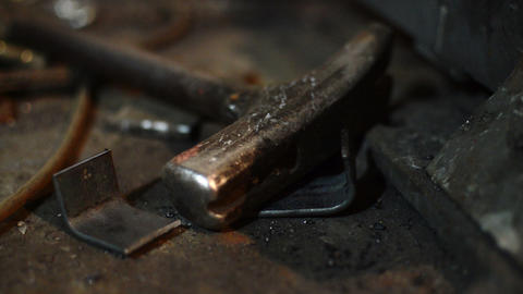 Close Up Of Old Tools .Old Rusty Hammer and Pliers On Iron Sheet Animation