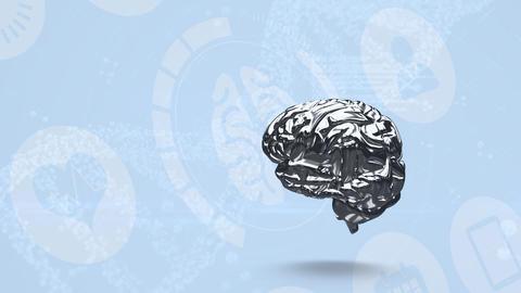 Animation of spinning grey brain Animation