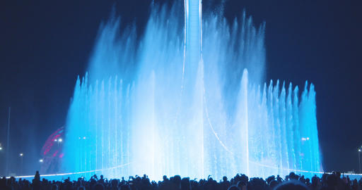 Light-musical fountain in the Olympic Park Sochi, Russia Footage
