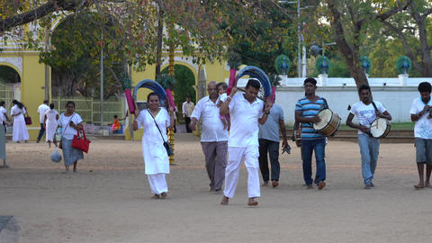 Kataragama, Sri Lanka - 2019-03-29 - Small Celebration Parade To Thank Hindu Live Action
