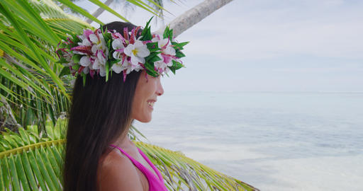 Tahiti beauty woman wearing flower head wreath traditional Tahitian crown Live Action