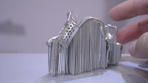 Object printed from metal powder on metal 3d printer Live Action