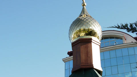 Golden Dome Of The Orthodox Church I On The Blue Sky Background Live Action