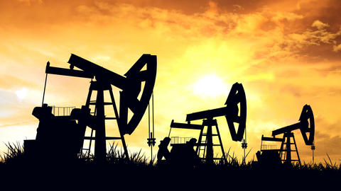 Oil pumps. Oil industry equipment Animation