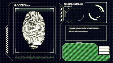 Interface HUD. Scanning human fingerprint Animation