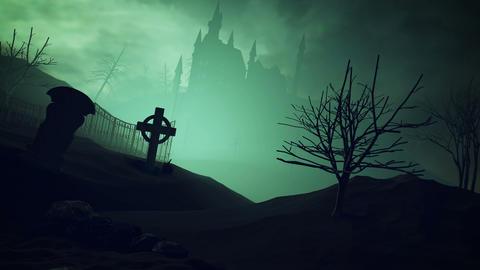 3D Halloween pumpkins and dark castle Animation
