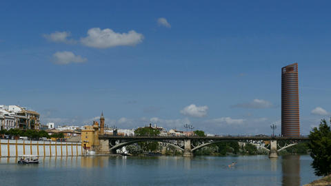 View over canal Alfonso XIII in Seville, Puente de Isabel II Footage