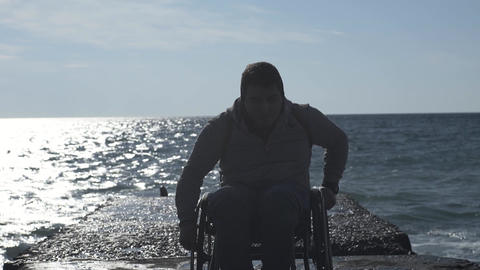 Disabled Man Leaves From The Pier Footage