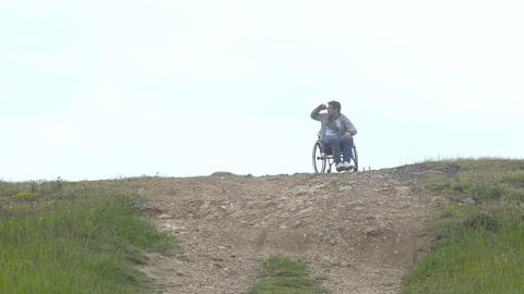 Young Disabled Man Outing In Day Footage