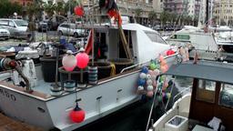Europe Italy Liguria Savona 009 fishing boat at landing stage Footage