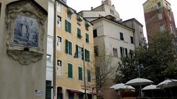 Europe Italy Liguria Savona 016 typical Italian square and buildings Footage