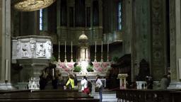 Europe Italy Liguria Savona 025 pulpit and altar inside catholic church nave Footage