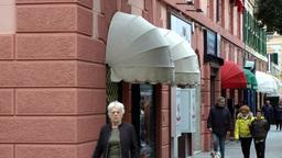 Europe Italy Liguria Savona 034 pedestrian walkway & colorful house facades Footage