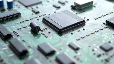 Electronic circuit board with processor, chips and capacitors Footage