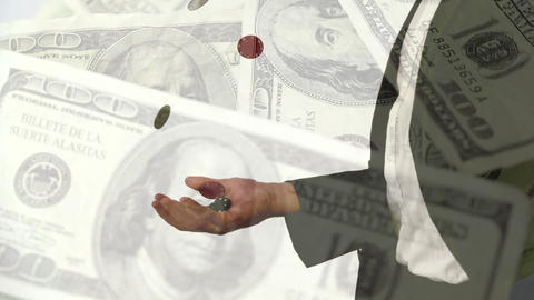 Composition of poker player with dollars money in…, Stock Animation