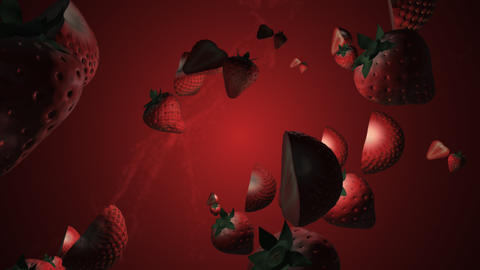 Splash of strawberry. 3D animation. Objects spinning Live Action