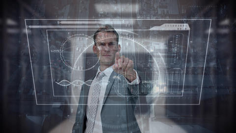 Digital composite of business man touching futuristic screen Animation