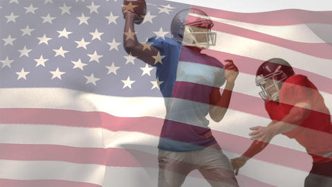 Quarterback getting tackled by american football player with american flag Animation