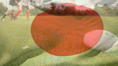 Rugby players doing physical exercises with a Japanese flag on the foreground Animation