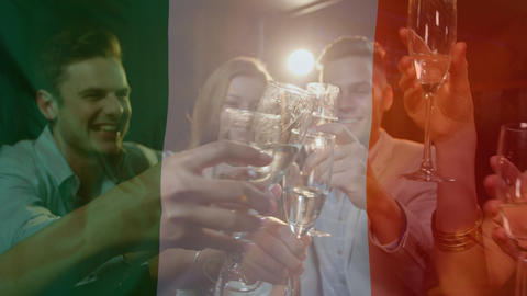 Composition of friends drinking with Irish flag in transparency Animation