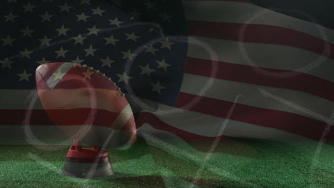 Animation of American football player with American flag in the background Animation