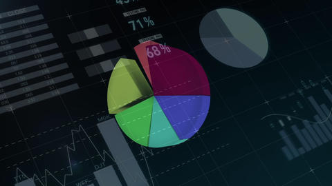 Composition of the lines of digital composite of colorful pie chart and histogram forming on screen Animation