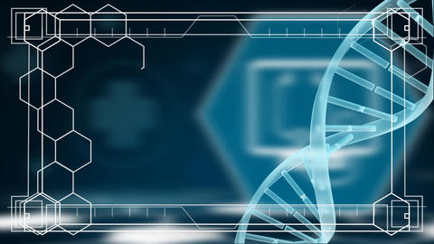 Frame of molecule with a spinning DNA in the background Animation