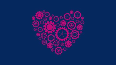 Purple heart shape from tech gears video animation Animation