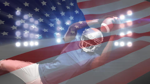 Composition of a American football player with American flag in the background Animation