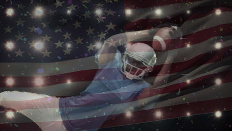 Animation of a American football player with American flag in the background Animation