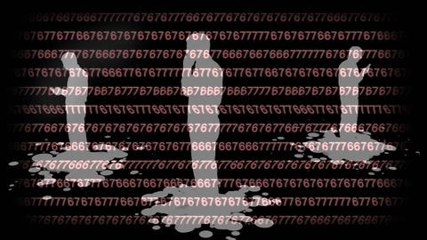 Silhouettes using their mobile phone with a binary code background Animation